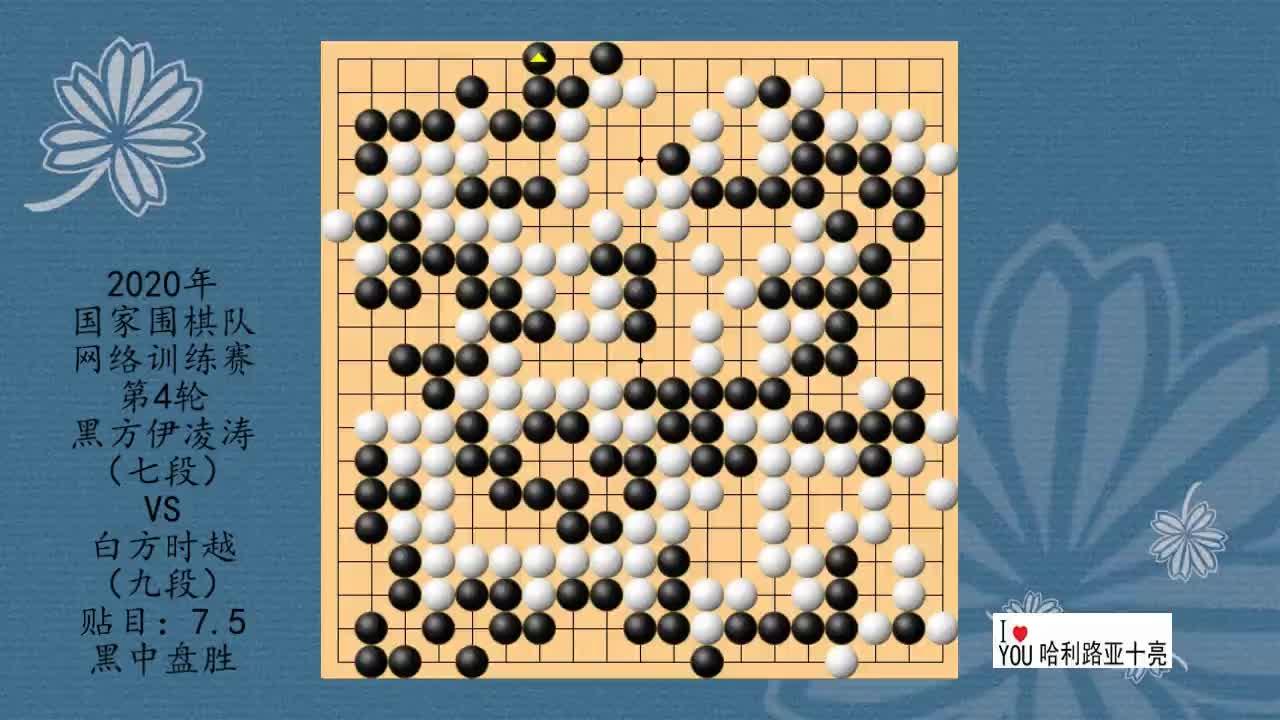 2020年国家围棋队网络训练赛第4轮,许嘉阳VS陈耀烨,白中盘胜