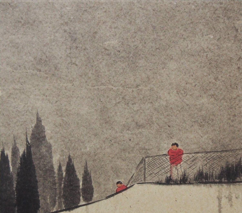 上海大学美术学院毕业研究生崔彤创作的以困为主题的国画作品