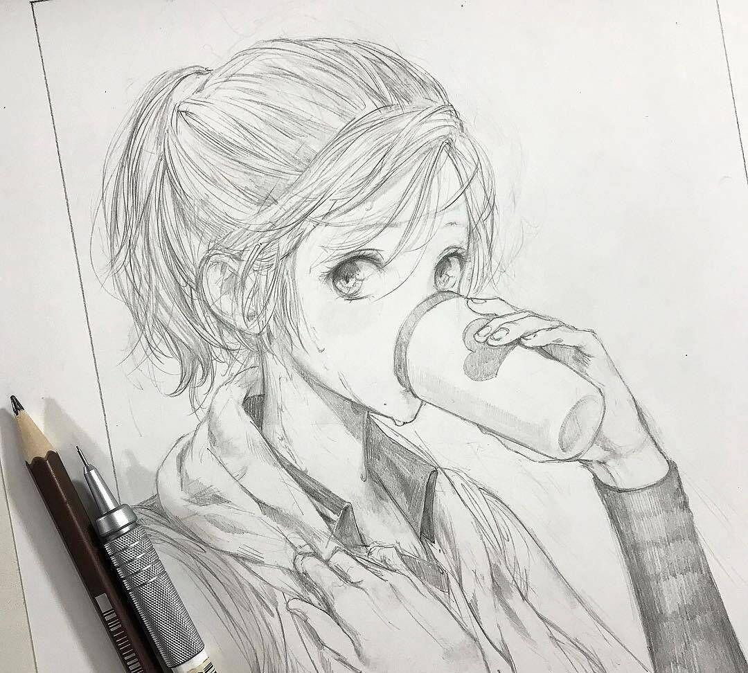 手绘人物线稿,表情灵动传神的动漫女孩