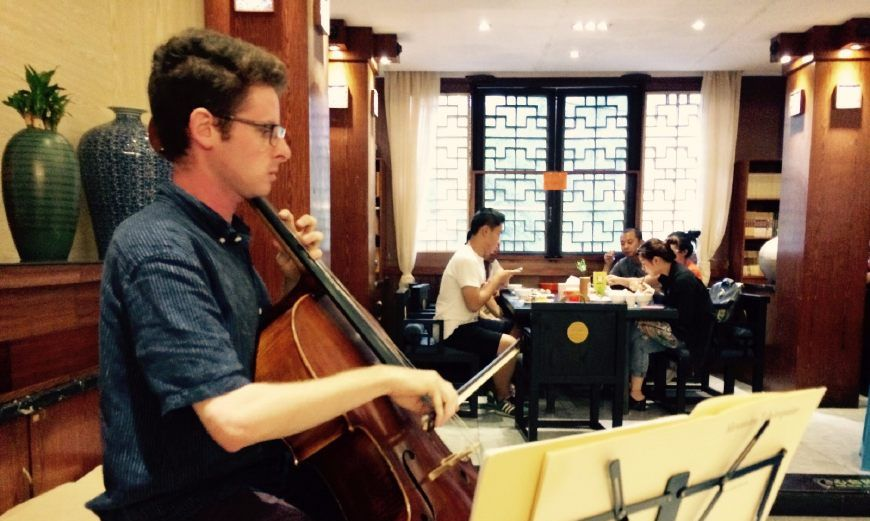 中央音乐学院美籍留学生在桂林交流音乐文化