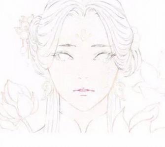 古風彩鉛手繪美人步驟詳情教程