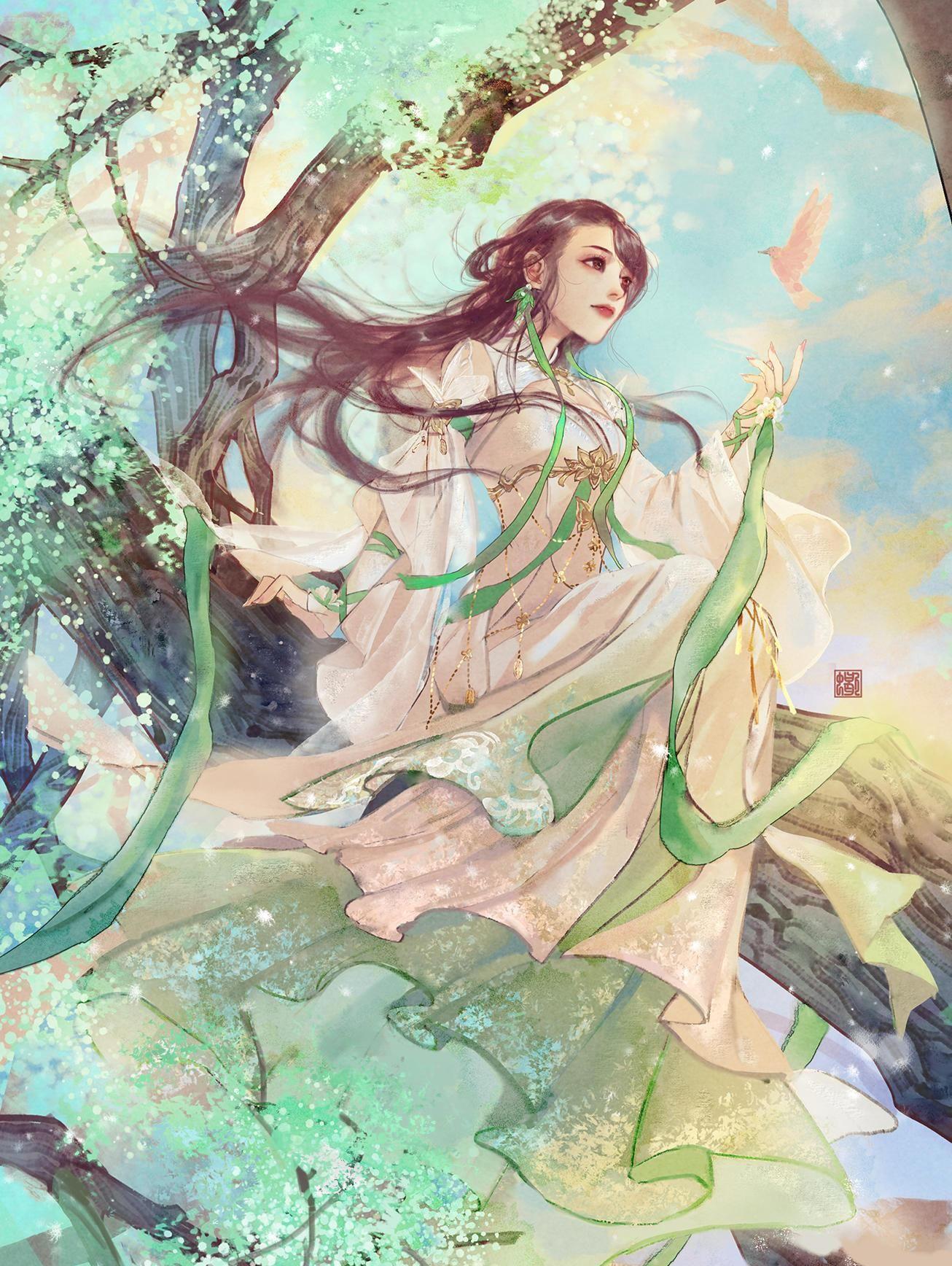 古风手绘女生唯美壁纸,对月形单望相护,只羡鸳鸯不羡仙!