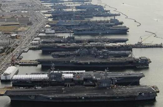 6艘航母本土同框为何对美军是凶兆 没有一艘能出海