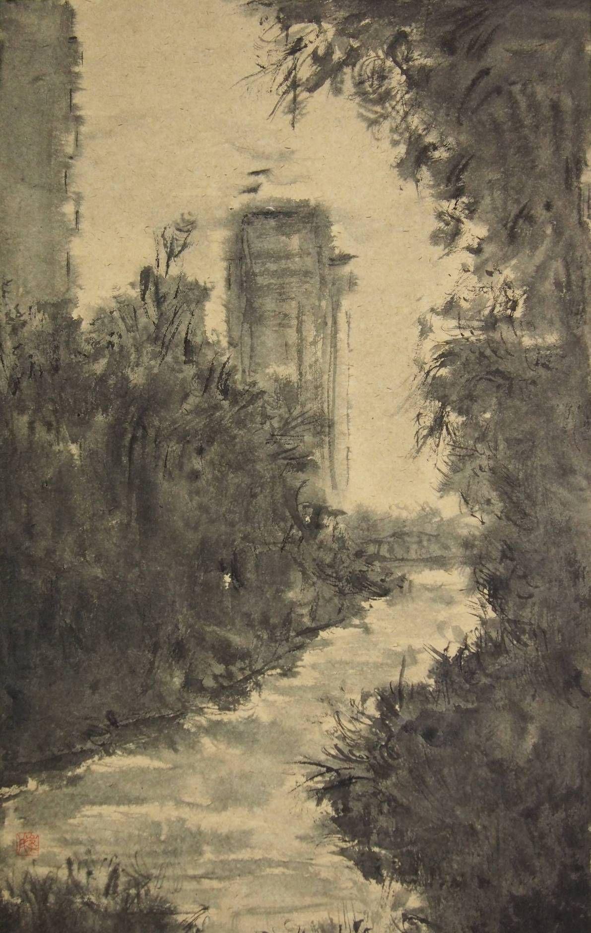 上海大学美术学院毕业研究生崔彤创作的风景系列国画作品