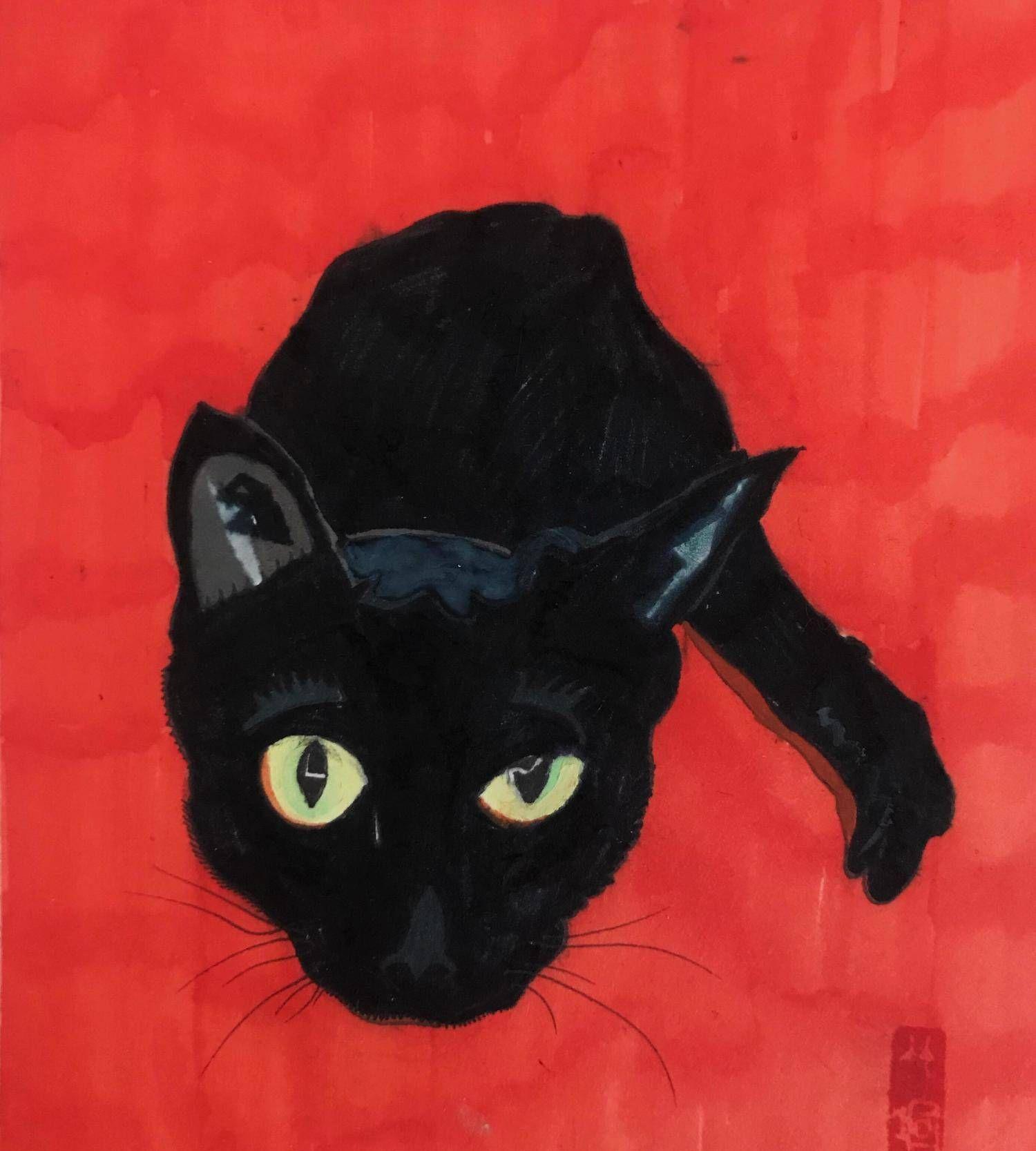 鲁迅美术学院毕业生杨竹喧关于猫的绘画作品(四)