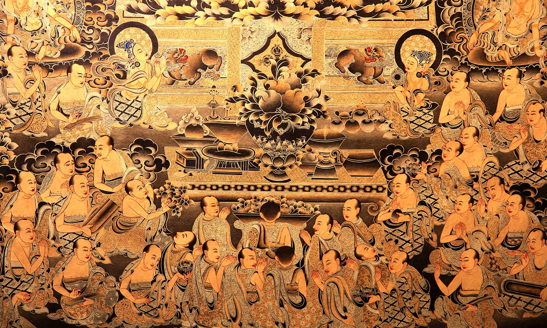 中国美术馆娘本唐卡细节图,每一笔都很惊艳