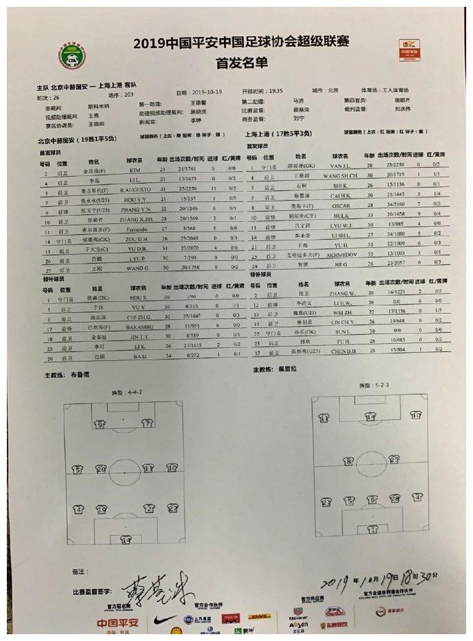 国安vs上港:侯永永、张玉宁首发,巴坎布替补