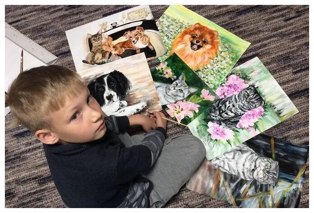 9岁的天才小画家,绘画报酬是狗粮,他用双手养活无数流浪狗