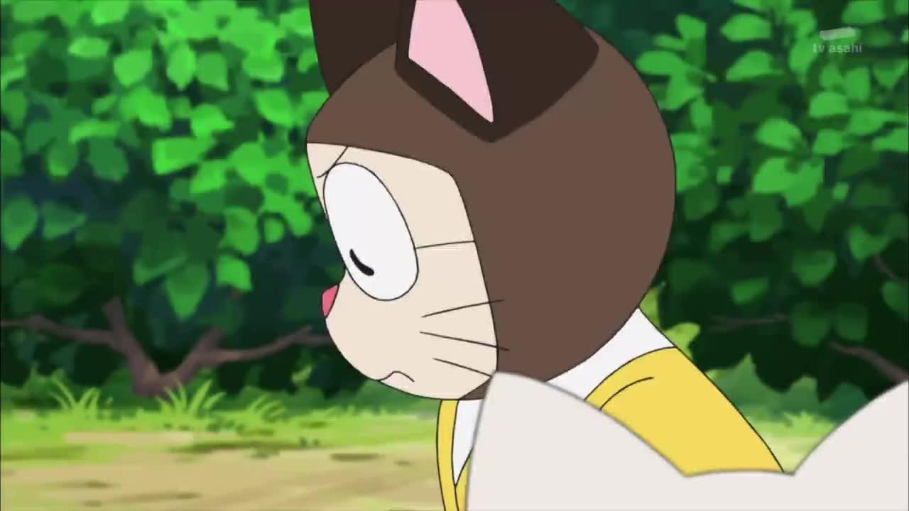 哆啦A梦大雄变成猫抓伤了胖虎吃鱼又被大猫欺负