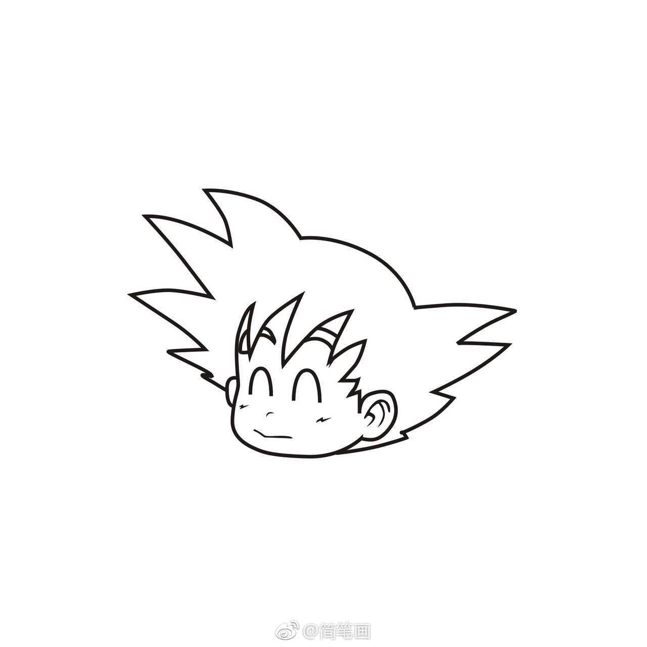 萌萌哒的小悟空简笔画步骤图(投稿:@空想画师 )