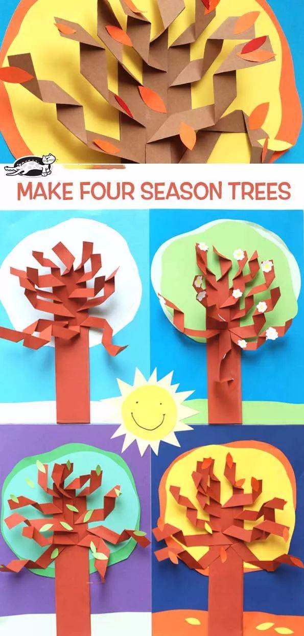 幼儿园手工制作——会开花的树和四季树,孩子最爱简单
