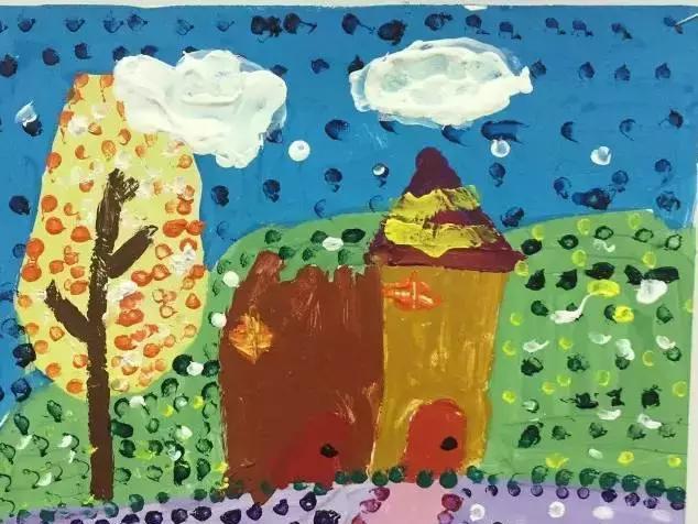 《风景点棉签》吧小小苹果,大大创意幼儿园视频彩画视频:手工通话画涂鸦棉签美术图片