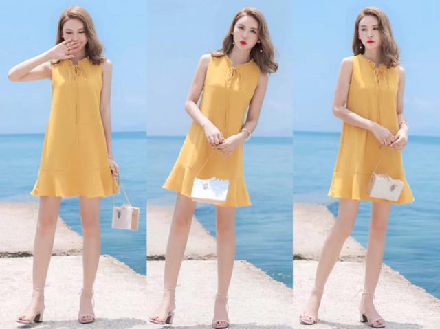 炎热的夏季,怎么能少了一条很清凉的雪纺连衣裙,对于黄皮肤的女生,小编特别推荐姜黄色,很高级的色调,可以提升肤色的亮度,无袖的款式,很舒适,不规则的鱼尾裙摆,修饰腿型的线条,很优美感,领口的蝴蝶结系带增加甜美感,搭配绑带的粗跟凉鞋轻松显腿长。 搭配5:露肩连衣裙+夹趾拖鞋