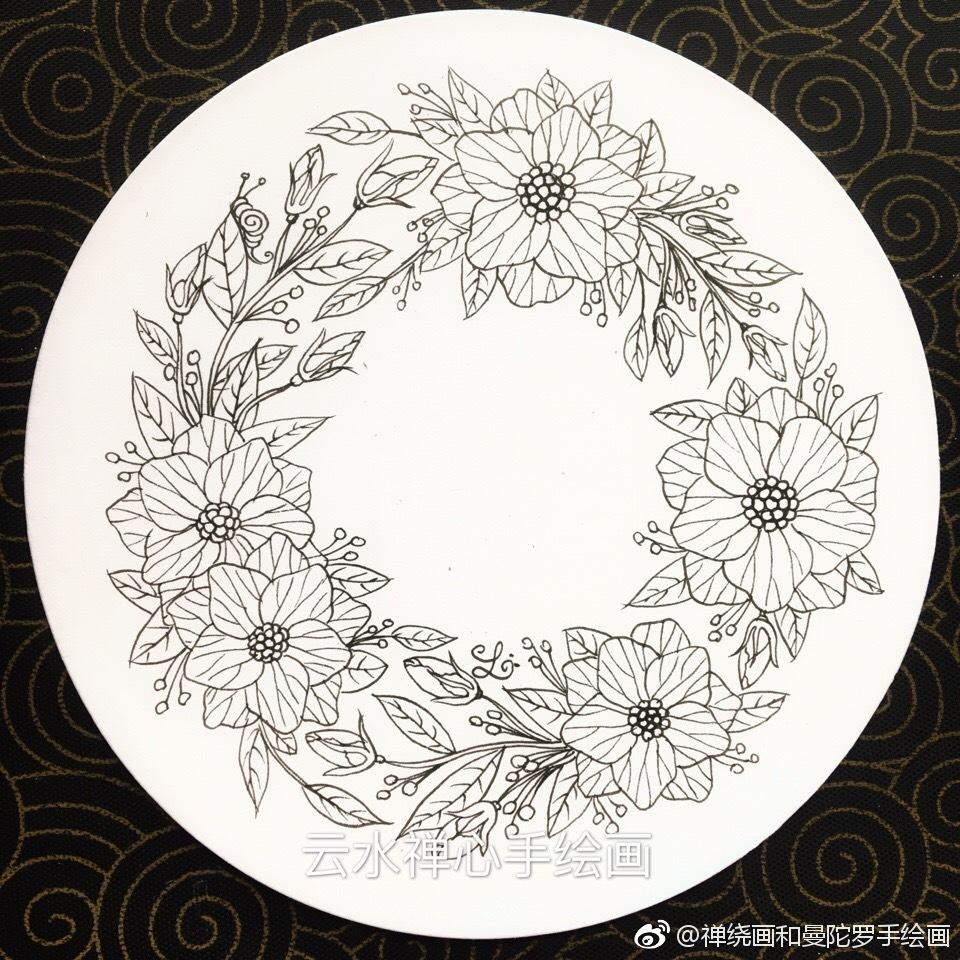 禅绕画和曼陀罗手绘画 画师的投稿   小清新花卉线稿花环,水彩,马克笔
