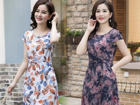 2018夏季新款大码连衣裙,特适合6070后女人,哪胖遮哪,清凉一夏