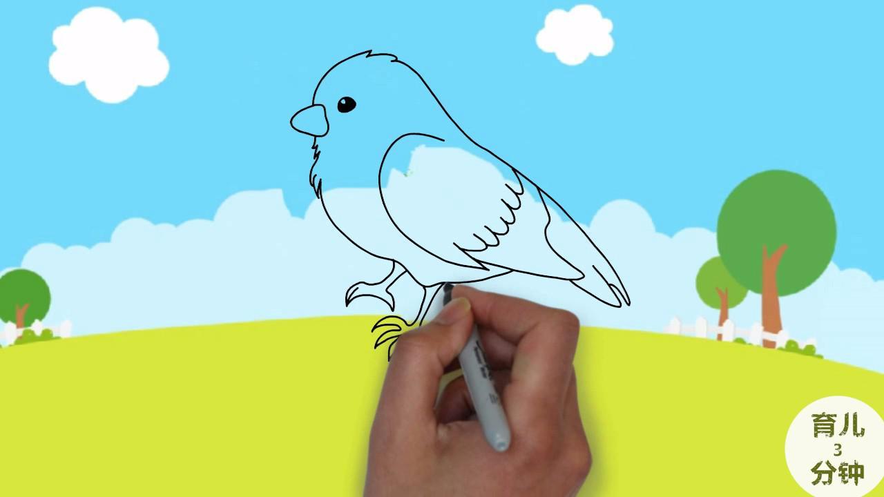 手绘简笔画,一只小麻雀,听儿歌学画画!