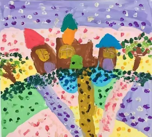 《风景点视频》吧小小美术,大大创意幼儿园手工视频棉签:棉签涂鸦画短旅馆彩画图片