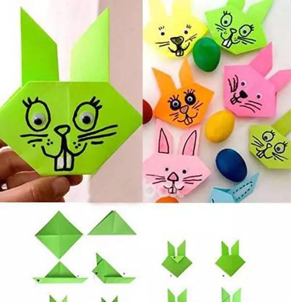 按图示用手工纸折个可爱的兔子,很应景的节日小手工!