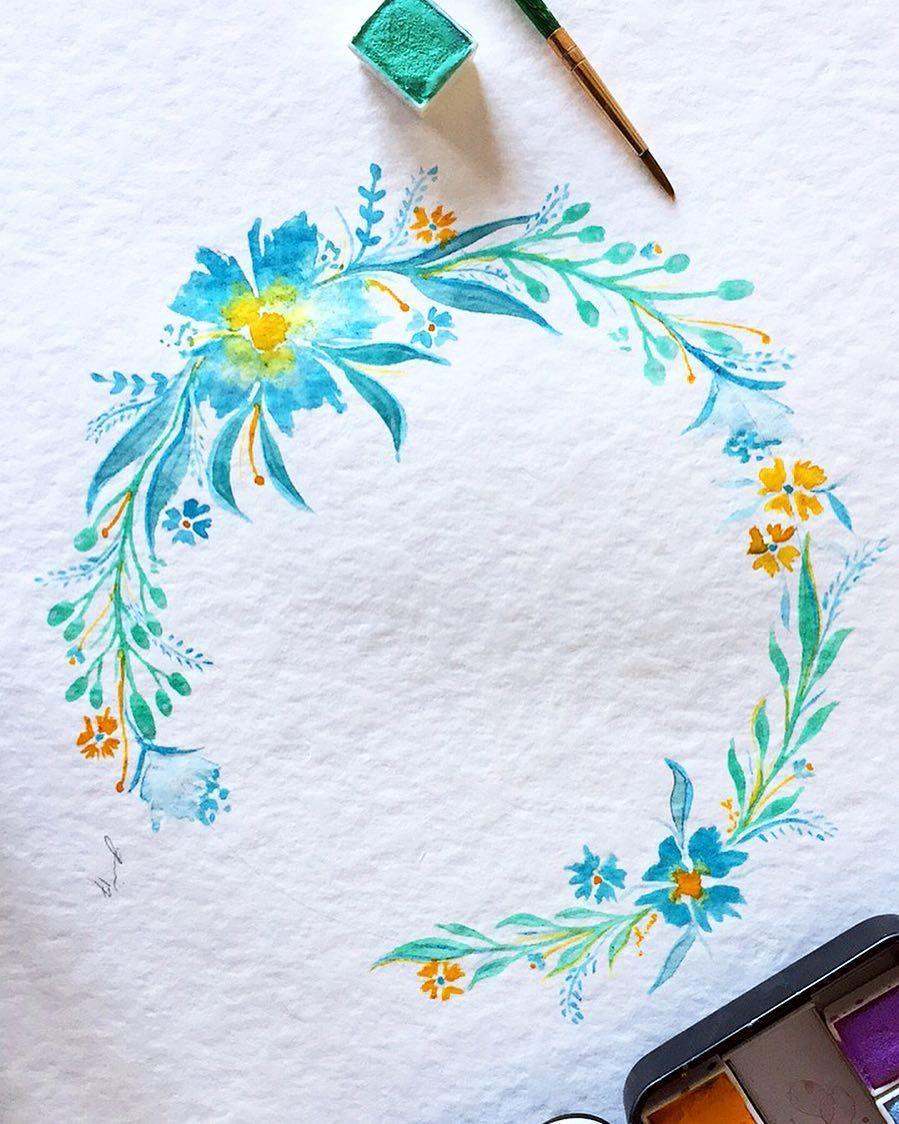 小清新手绘水彩花环,素材来自澳大利亚插画师simela petridis