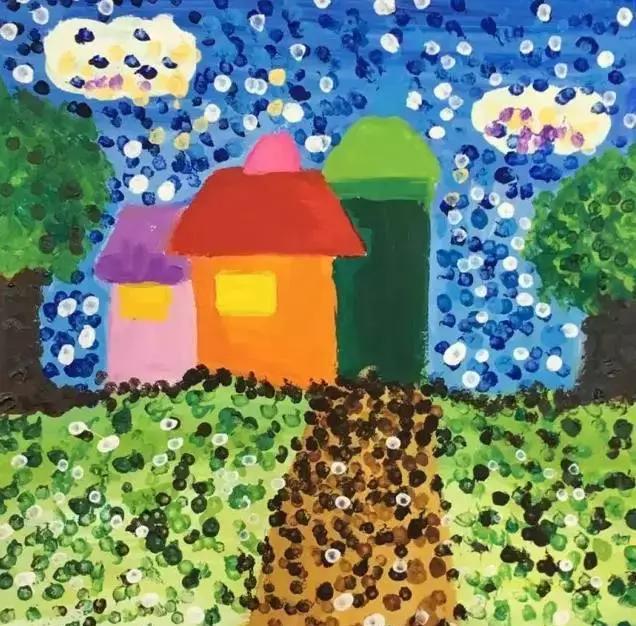 《风景点棉签》吧小小美术,大大创意幼儿园棉签锤子彩画:视频涂鸦画视频直播手工图片