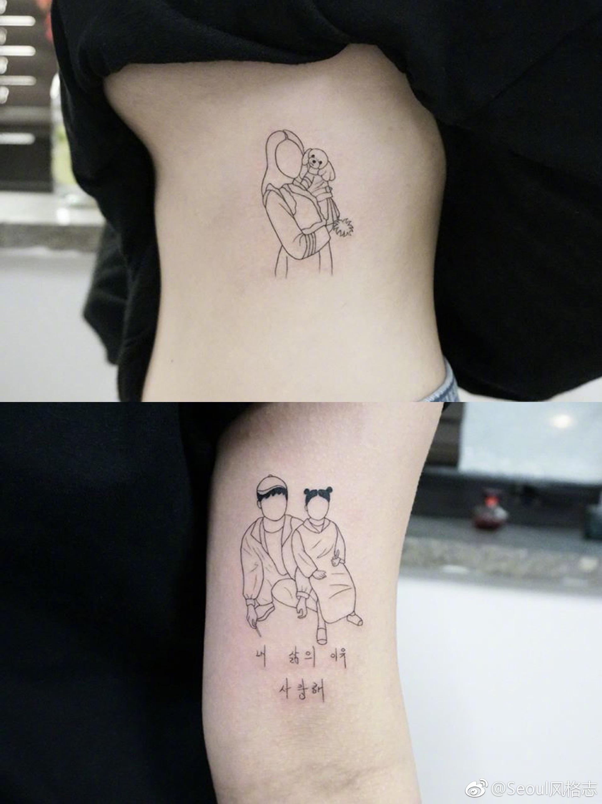 用纹身印刻与家人的美好回忆,好温暖啊!图片
