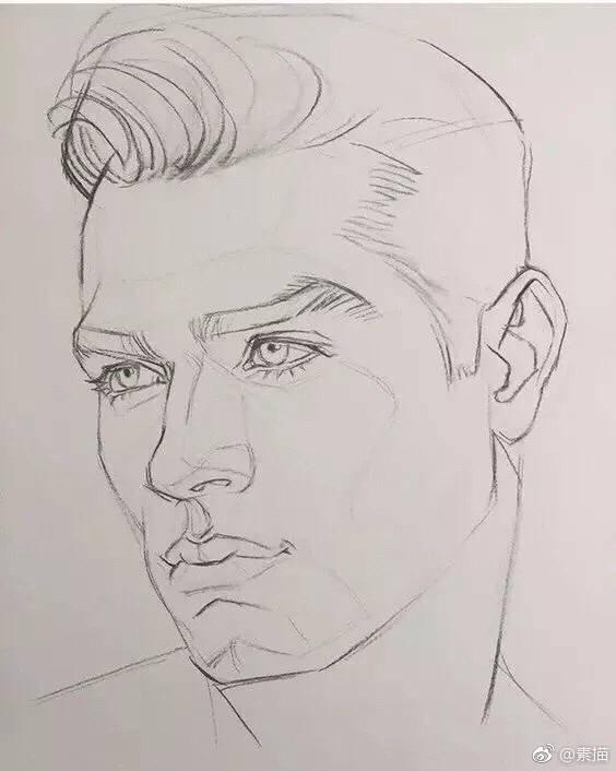 素描男性面部结构图,多角度多块面,高眉肱骨,深邃眼窝