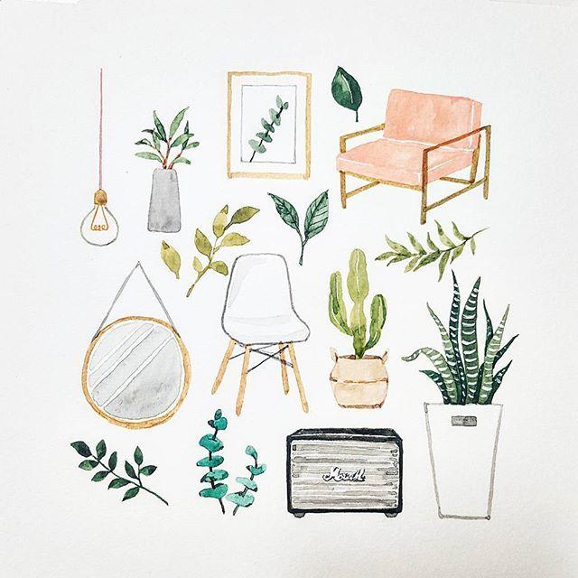 清新文艺的森系风花草素材,来自韩国插画师,仅做分享练习使用