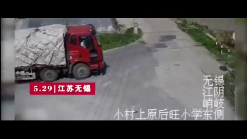 男子生前最后10秒:监控录下其被大货车碾压致死?