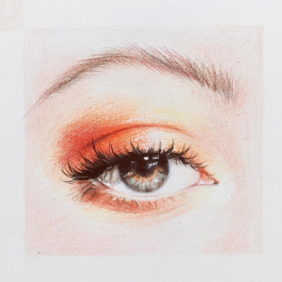 韩国插画师的彩铅眼睛手绘参考,图1的漂亮双眸