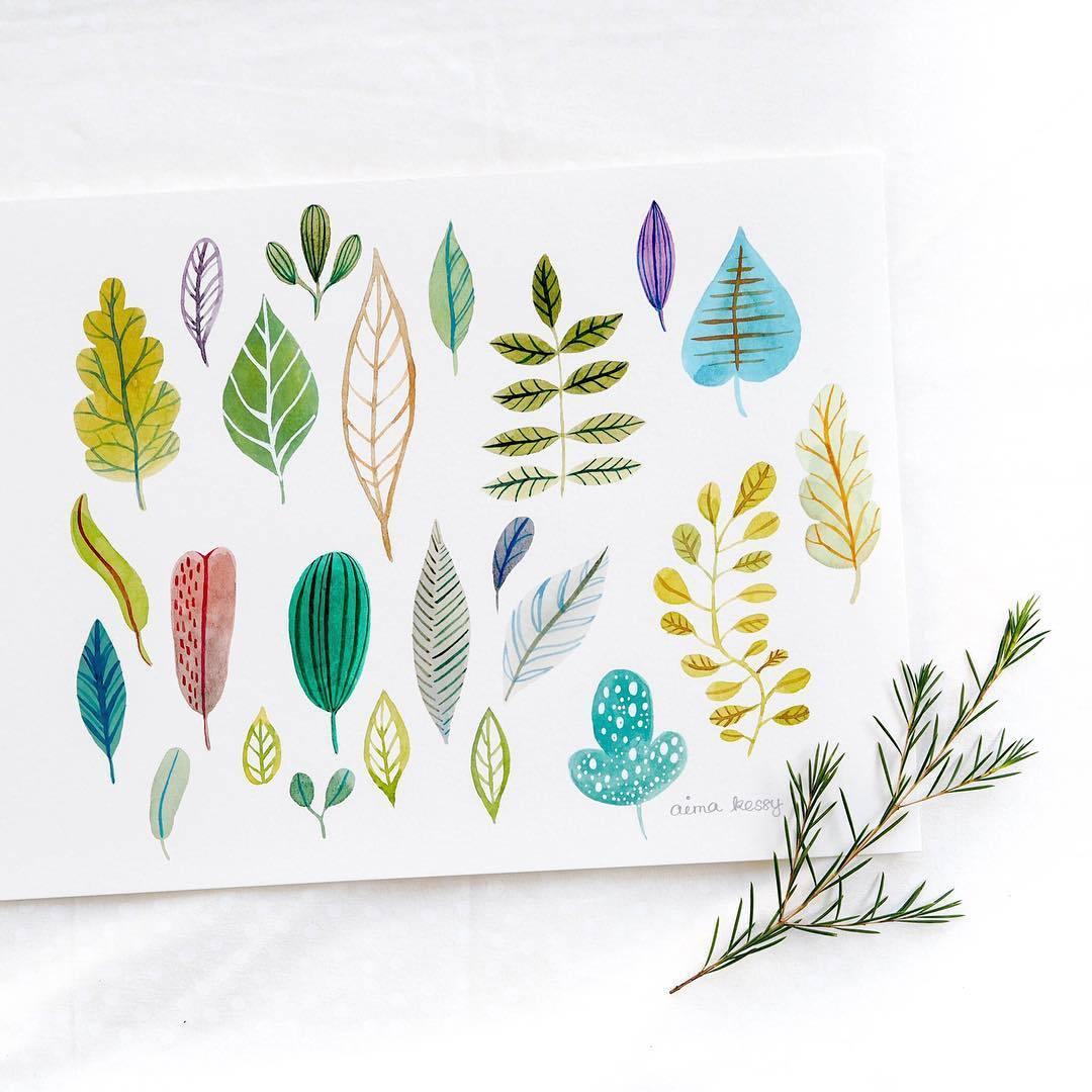 小清新绿叶盆栽素材,文艺手帐必备,素材来自水彩插画师aima kessy