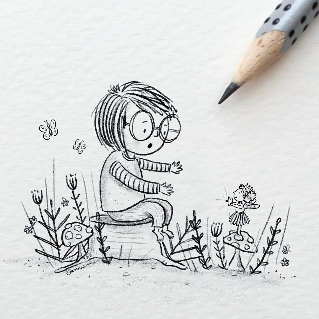 可爱简单的铅笔画
