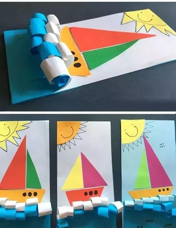 超赞幼儿园手工——创意帆船,沙滩贺卡,杯中花,彩色