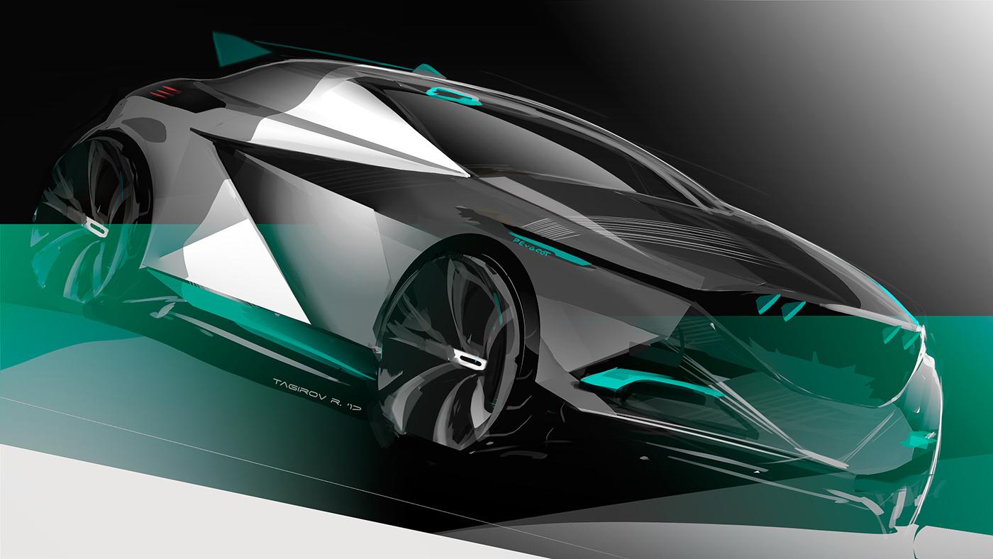汽车概念设计手绘稿.