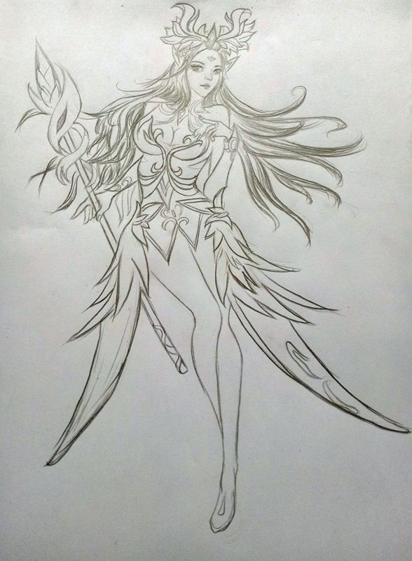 王者荣耀:手绘素描黑白貂蝉,王昭君,露娜美美哒|王者