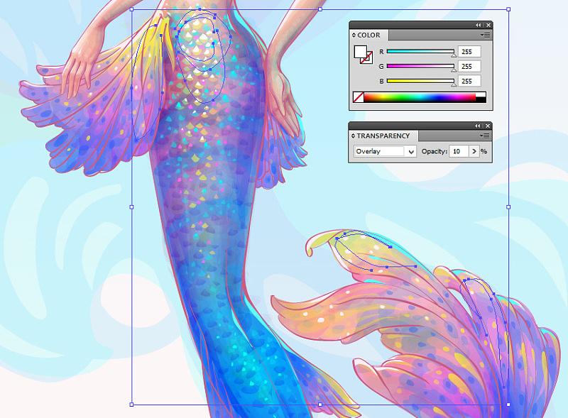 ai绘制唯美的水彩美人鱼插图