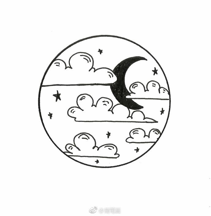 一组针管笔手绘,太阳和月亮的梦境(by:马克笔游老)
