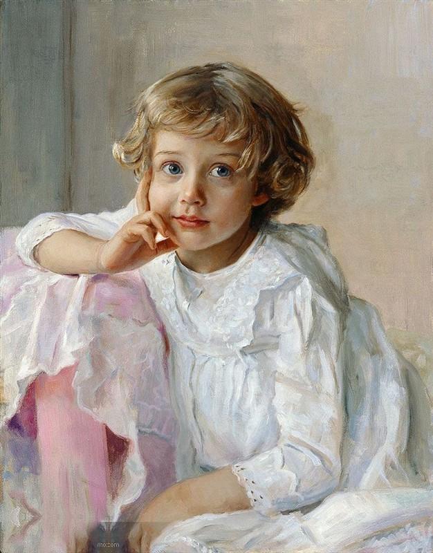 第23期: 俄罗斯人物画家---斯拉瓦-柯罗斯夫的油画儿童作品图片