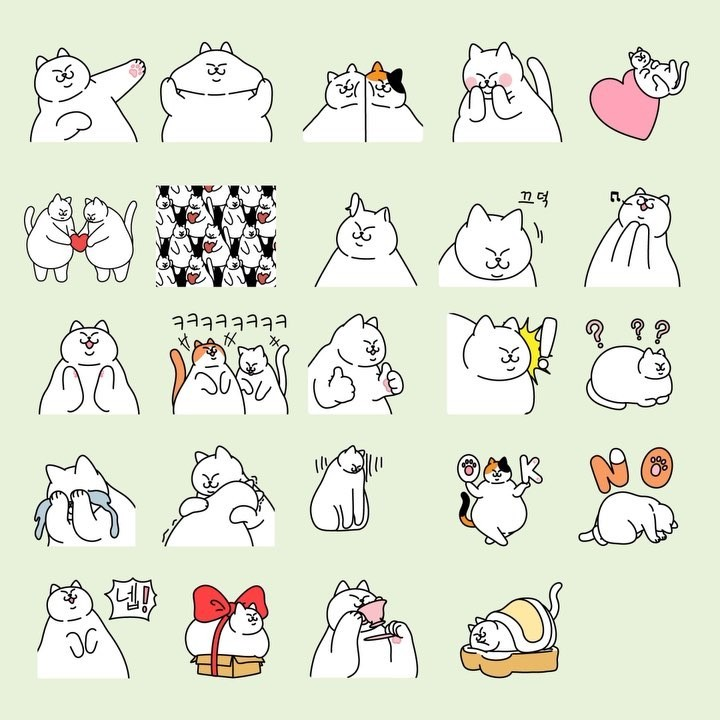 软萌的猫咪简笔画,^^喵~!素材来自ins:bongsu_comics