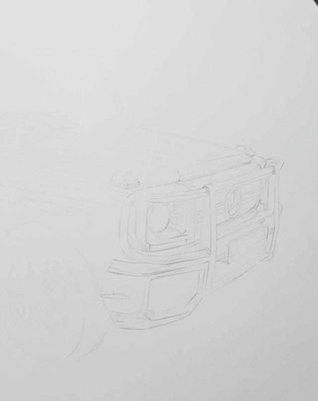 铅笔素描汽车步骤