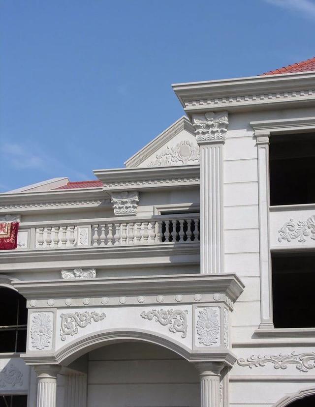 设计欧式风格石材门头独立别墅参考江南外观别墅案例图图片