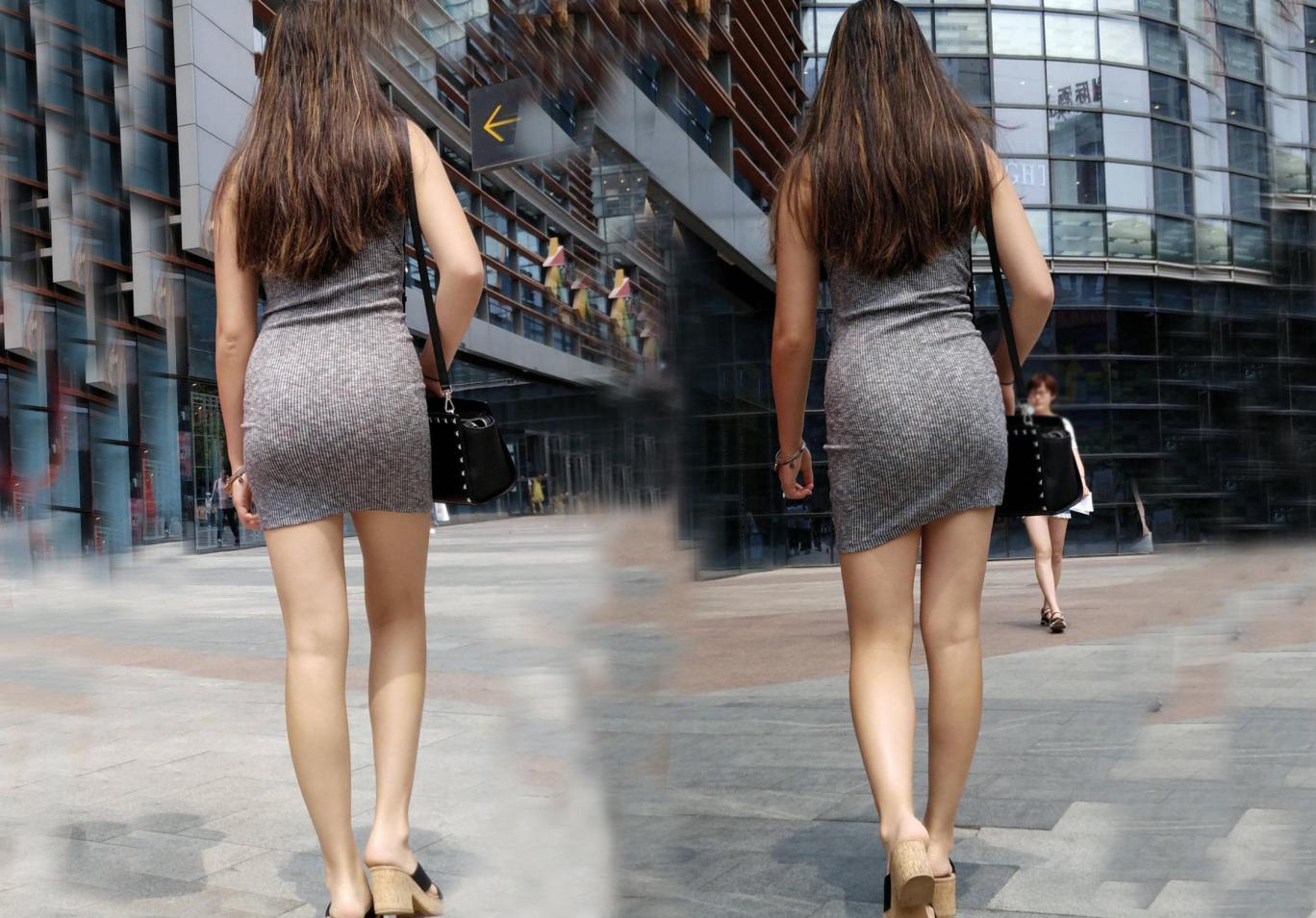 灰色辣妈背影一身包臀裙穿出少女般a灰色丝袜!日本美女美女高跟图片