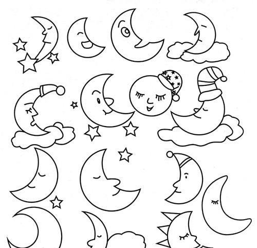 033太阳月亮星星和云宝宝的儿童简笔画应该怎么画呢