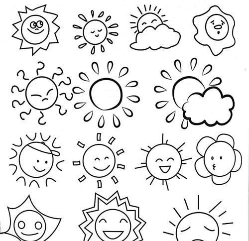 033太阳月亮星星和云宝宝的儿童简笔画应该怎么画呢,看看这里吧