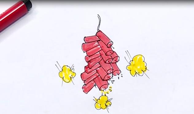 一串鞭炮简笔画,四个步骤就可以完成哦,超简单的