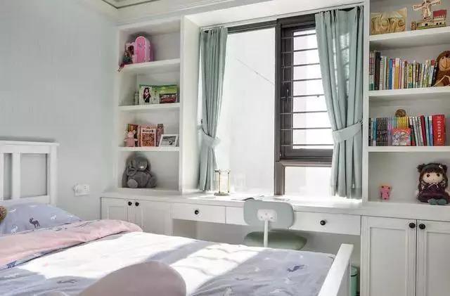 3,靠窗打一个大书桌,两边做书橱,简洁的设计,超实用.图片