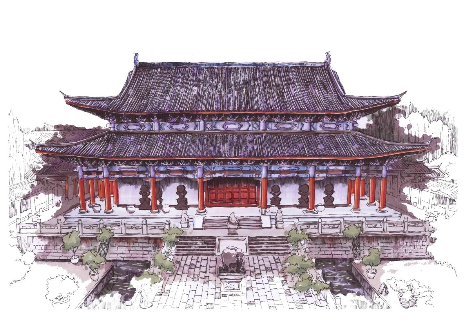 丽江木府手绘彩稿丨程文瀚