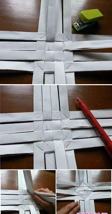 废报纸废纸条编织纸艺笔筒小篮子,纸藤条折纸编织教程