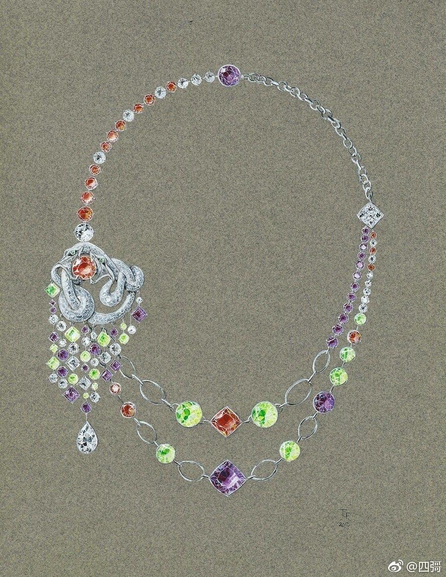 珠宝设计,项链手绘欣赏!