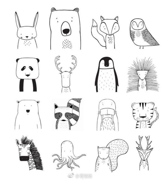 超可爱的小清新动物简笔画