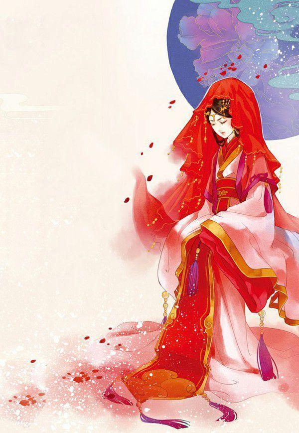 动漫古风女子出嫁壁纸——桃花好,朱颜巧,凤袍霞帔鸳鸯袄